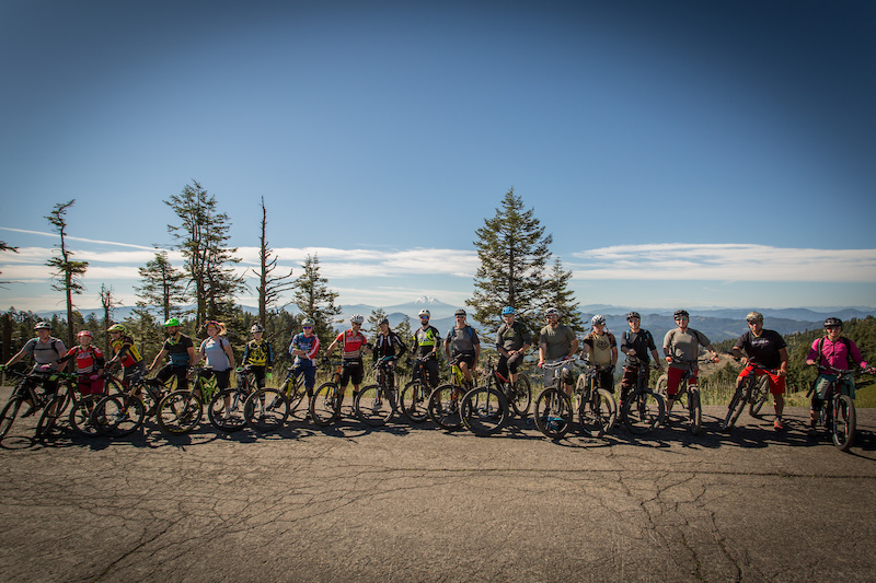 Ashland Mountain Adventures shuttled riders to the top of Mount Ashland for practice runs. Check out Mt. Shasta in the distance, towering 12,000 feet above the floor at its base. Photo: Called to Creation.