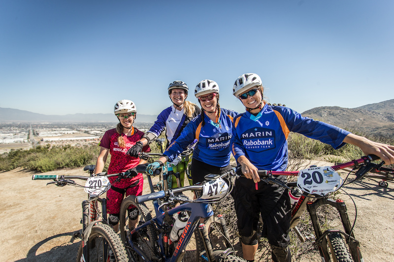 A few of the Pro Women at the top of Stage 3 at the Fontana Enduro. All smiles as the weather was decent and the terrain amazing. From left to right: Liz Miller, Megan Gemelos, Brianne Spiersch, Essence Barton. Photo: Called to Creation.