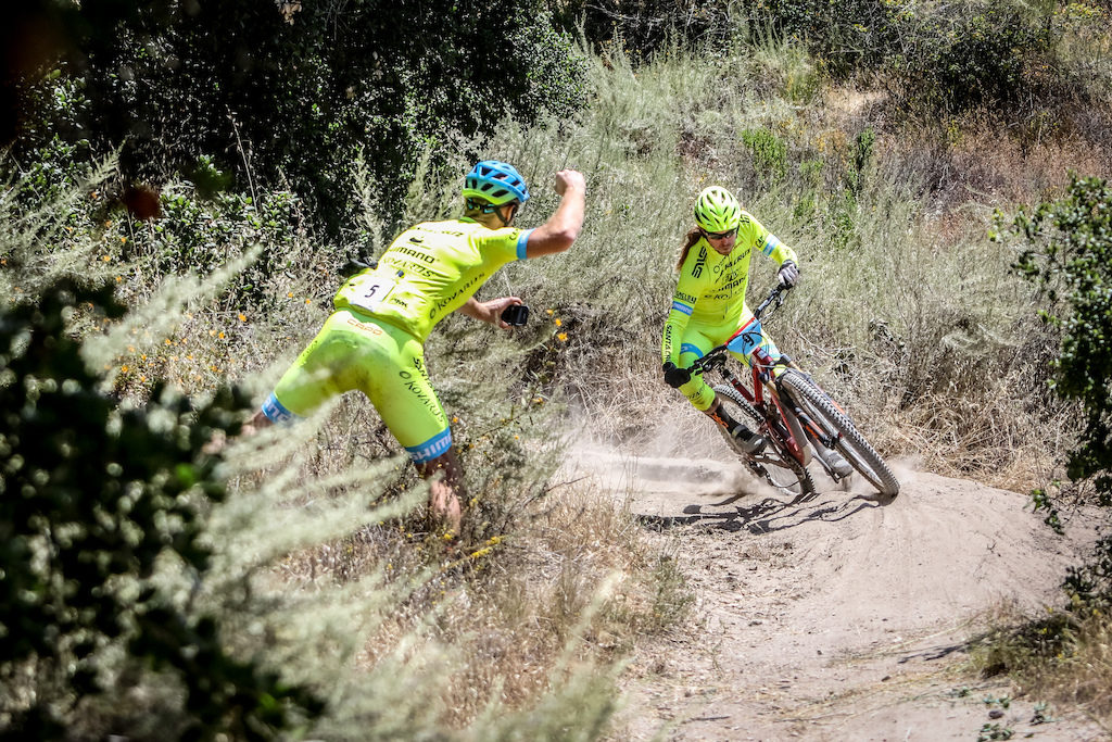"Team competition started really heating up at the Toro Enduro. Clint Claassen (left) cheers on teammate Marshall ""Enduro Jesus"" Eames on Stage 3."